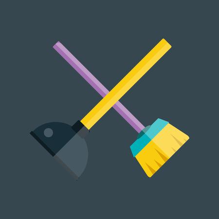 plunger: Toilet plunger and brush vector. Illustration