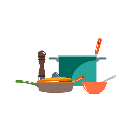 steel mill: Kitchenware vector icons. Stock Photo