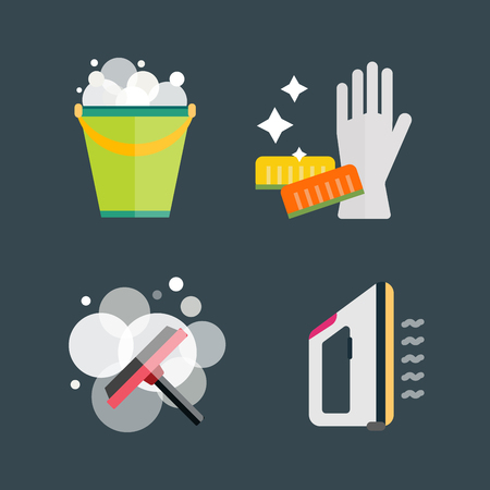 scrubbing: House cleaning tools vector Illustration