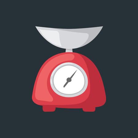 weigh machine: Vector illustration kitchen scales. Illustration