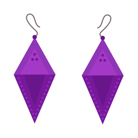 earrings: Earrings beautiful accessory isolated vector.