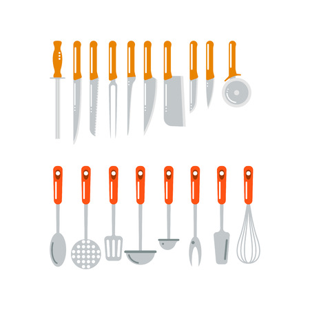 Kitchen home culinary equipment flat vector illustration.