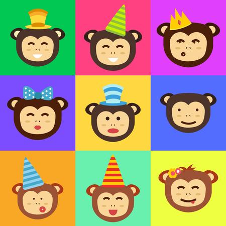 Vector monkey head icon.  イラスト・ベクター素材