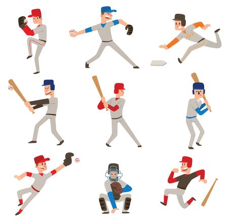 Ikona ikona odtwarzacza Baseball. Ilustracje wektorowe
