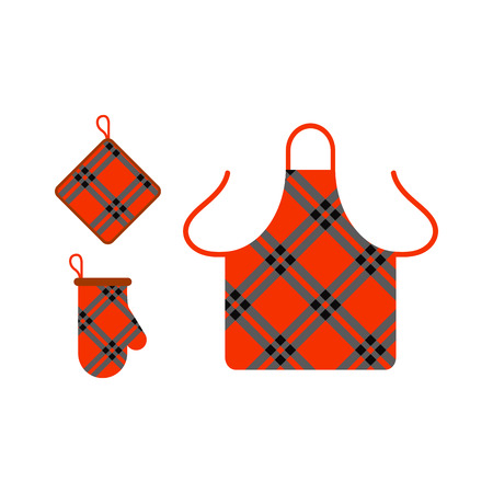 preparations: Kitchen apron and potholder vector illustration.