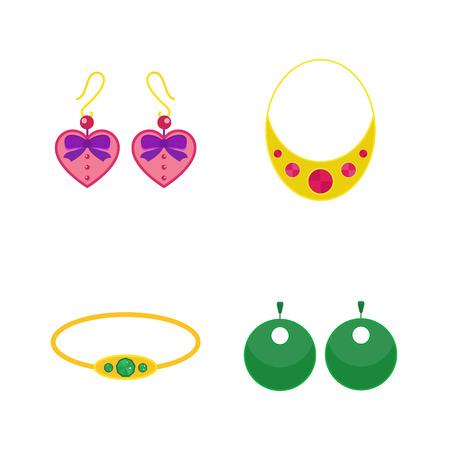 diamond earrings: Set of cartoon jewelry accessories vector.