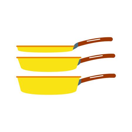 steam iron: Cartoon cooking pan vector illustration. Illustration