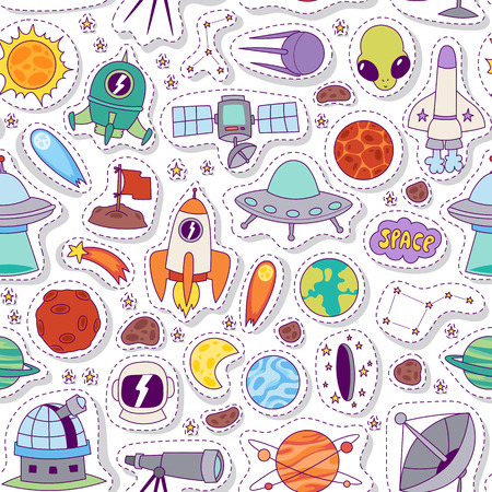 Astronomy space vector seamless pattern.