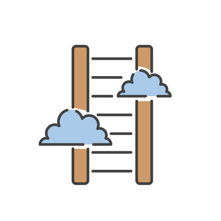 Career ladder thin line icon vector.