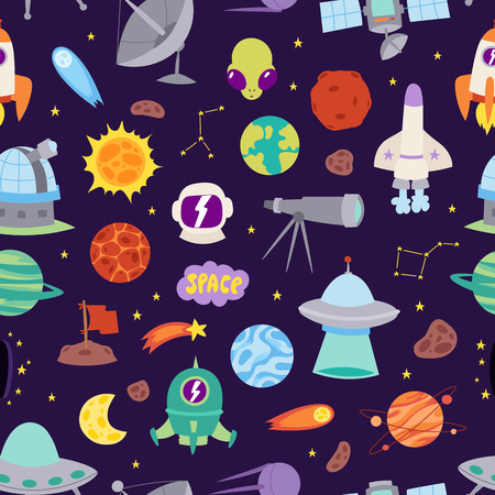 astronomy: Astronomy space vector seamless pattern.