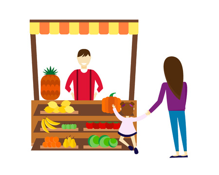 seller: Street seller with stall fruits and vegetables vector illustration.