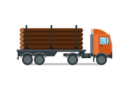 softwood: Heavy loaded logging timber truck vector. Illustration