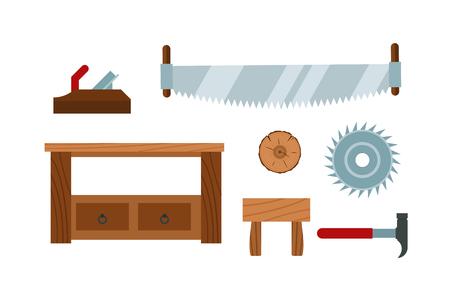 Lumberjack cartoon tools icons vector illustration