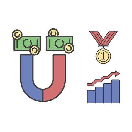 medal like: Business success vector money magnet icon.