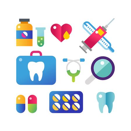 Medicine vector icons set. Illustration