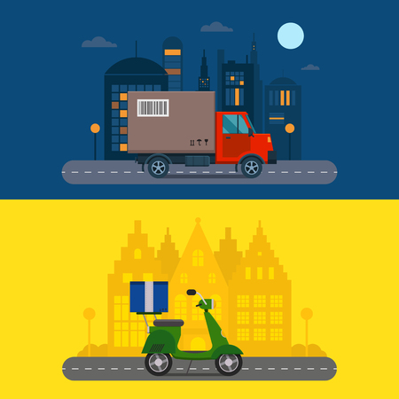 Delivery transport cargo logistic truck and scooter shipping vector illustration.