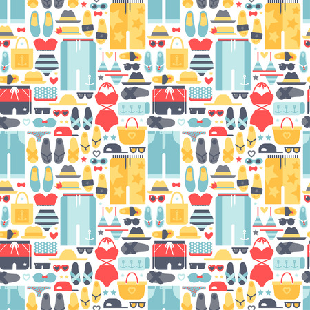 Summertime accessories seamless pattern vector.