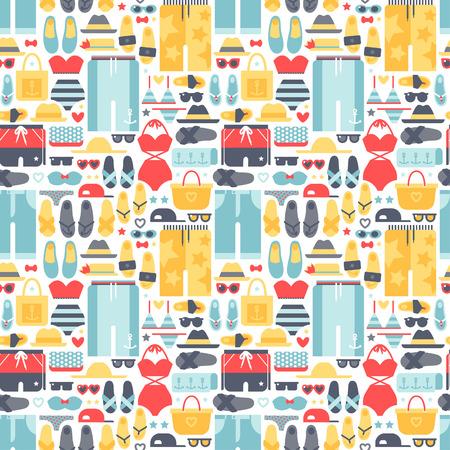 Summertime accessoires naadloos patroon vector.