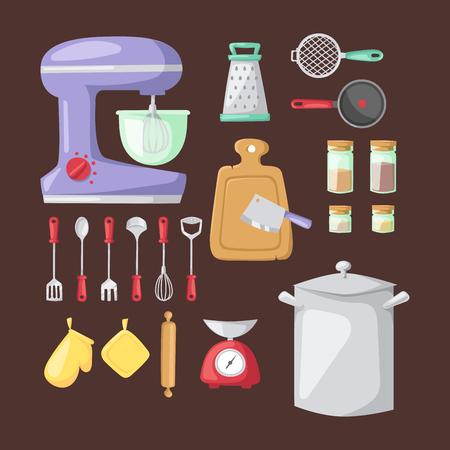 metal grater: Kitchenware vector icons. Illustration