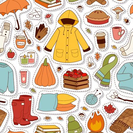 Autumn icons seamless pattern vector. Stock Photo