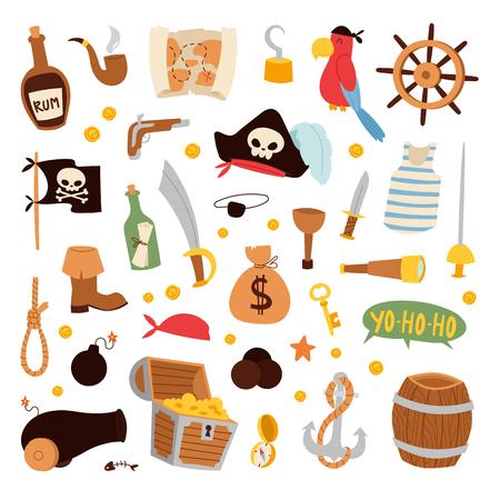 Pirate stickers iconen vector. Stock Illustratie