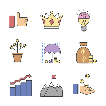 medal like: Business success vector icons set.