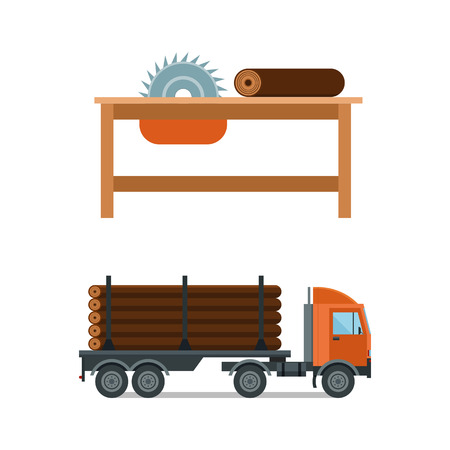 Lumberjack chainsaw and truck icons vector illustration