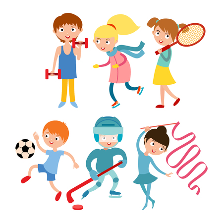 Young kids sportsmens isolated on white vector illustration Illustration