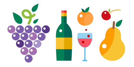 Bunch of grapes and wine bottle vector illustration. Illustration
