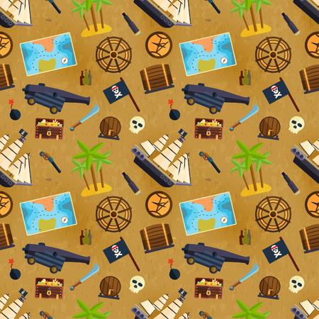 hoard: Treasure chest vector seamless pattern illustration.