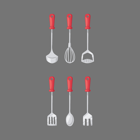 knive: Kitchen home culinary equipment flat vector illustration.