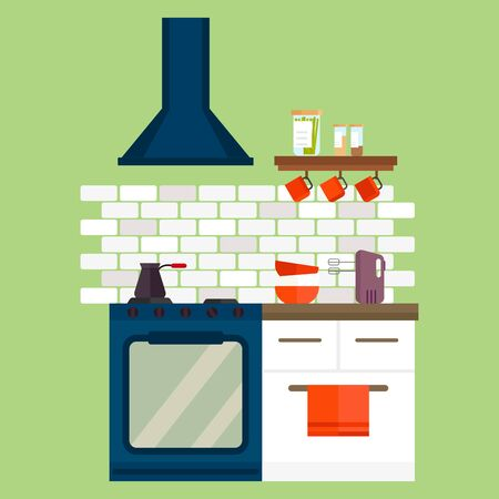 counter top: Kitchen stainless steel gas cooker and furniture interior flat style vector illustration