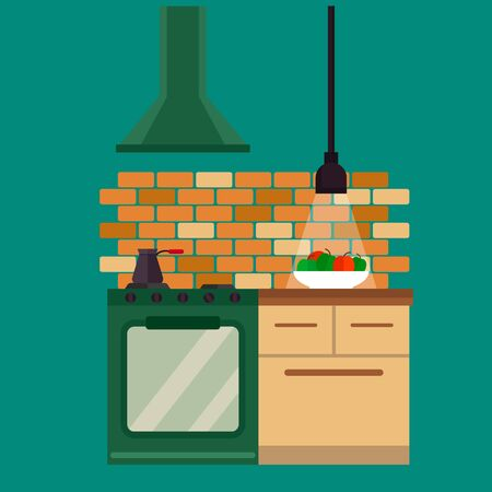 counter top: Kitchen and furniture interior flat style vector illustration
