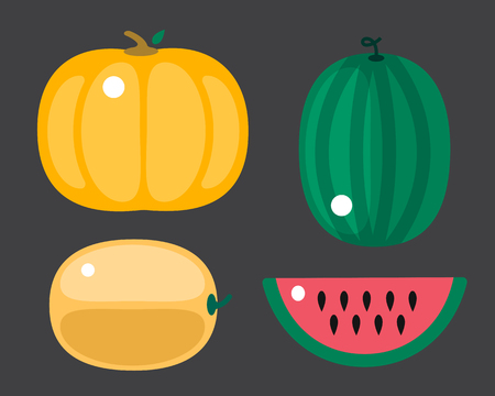 green lantern: Fresh orange pumpkin and watermelon isolated vector illustration.