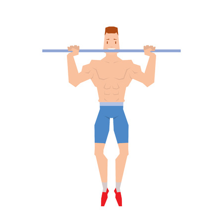 Man doing physical exercises pulling. Hanging on the bar vector. Illustration