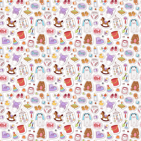 Baby icons seamless pattern vector. Stock Photo