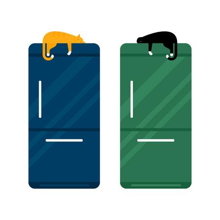 stainless: Stainless steel modern refrigerator vector illustration. Stock Photo