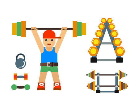 Fitness gym club vector icons. Illustration