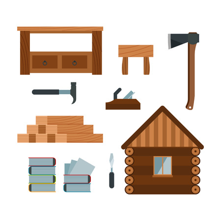 hatchet: Lumberjack woodworking tools icons vector illustration