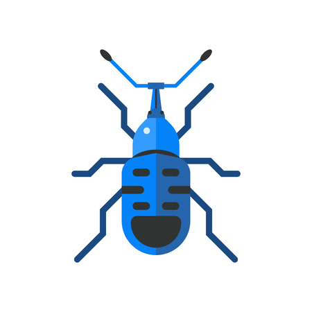 bark: Insect icon flat isolated on white background
