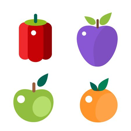 Fruits and vegetable food flat vector illustration.