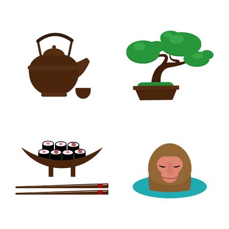 Sushi food and japan landmark travel icons vector illustration.