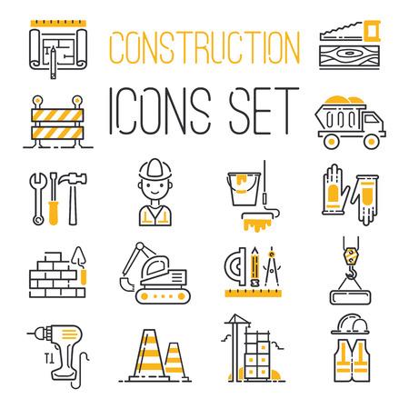 Iconos de construcción conjunto de vectores.