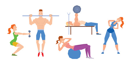 fitball: Cartoon sport gym people vector.