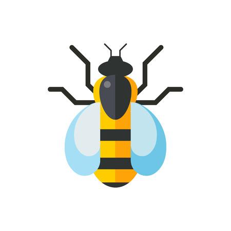 European western honey yellow bee vector.