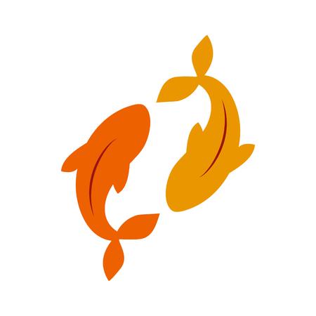 Oro carpa de carpa de pescado japón koi ilustración vectorial.