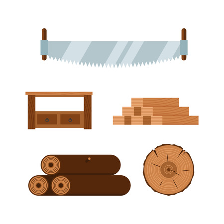 deforestacion: Lumberjack cartoon tools icons vector illustration