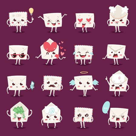 scaring: Envelope character emotions face vector illustration.