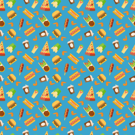 food: Fast food pattern vector illustration. Illustration