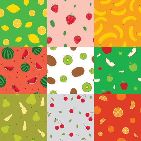 Seamless backgrounds with fruits vector illustration isolated